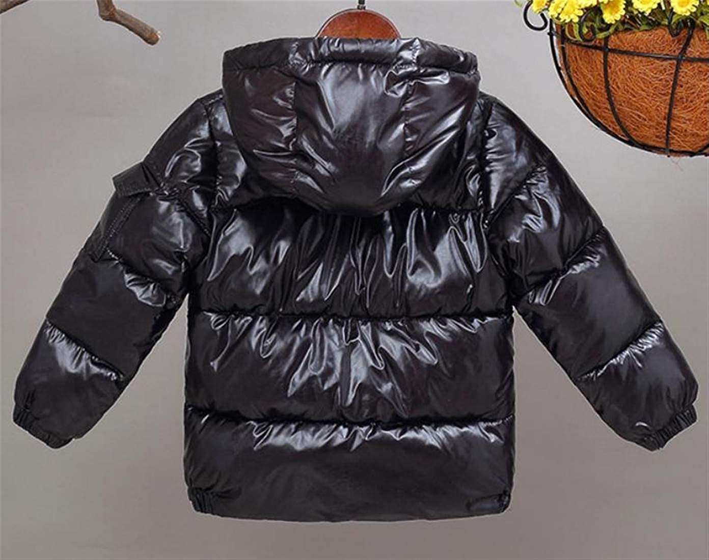 pipigo Boys Metallic Quilted Down Jacket Cotton-Padded Hooded Winter Parka Coat