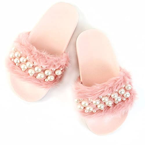 Pink Fur Greystan Imported Slides Slippers Flip-Flops & House Slippers at amazon