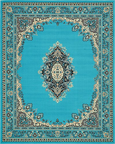 Cheap  A2Z Rug Traditional Turquoise 8' x 10' Mashad Collection Area rug Perfect..