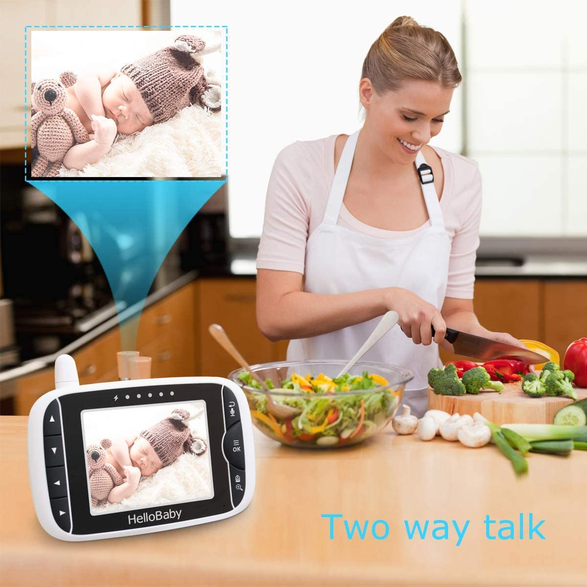 "Baby Monitor with Remote Pan-Tilt-Zoom Camera and 3.2"" LCD Screen, Infrared Night Vision (Black) 614jLqkx8SL"