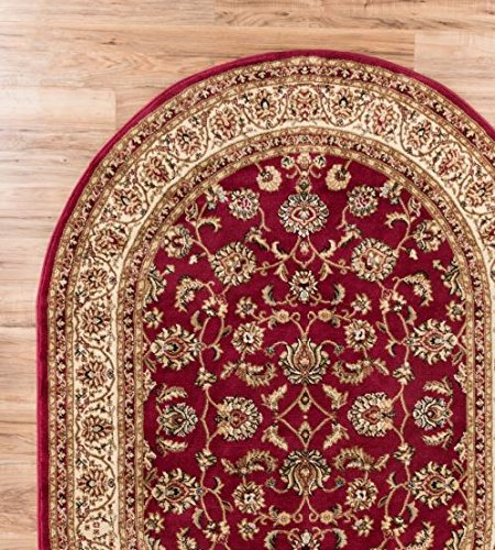 """Antique Classic Red 5'3"""" x 6'10"""" OVAL Area Rug Oriental Flor"""
