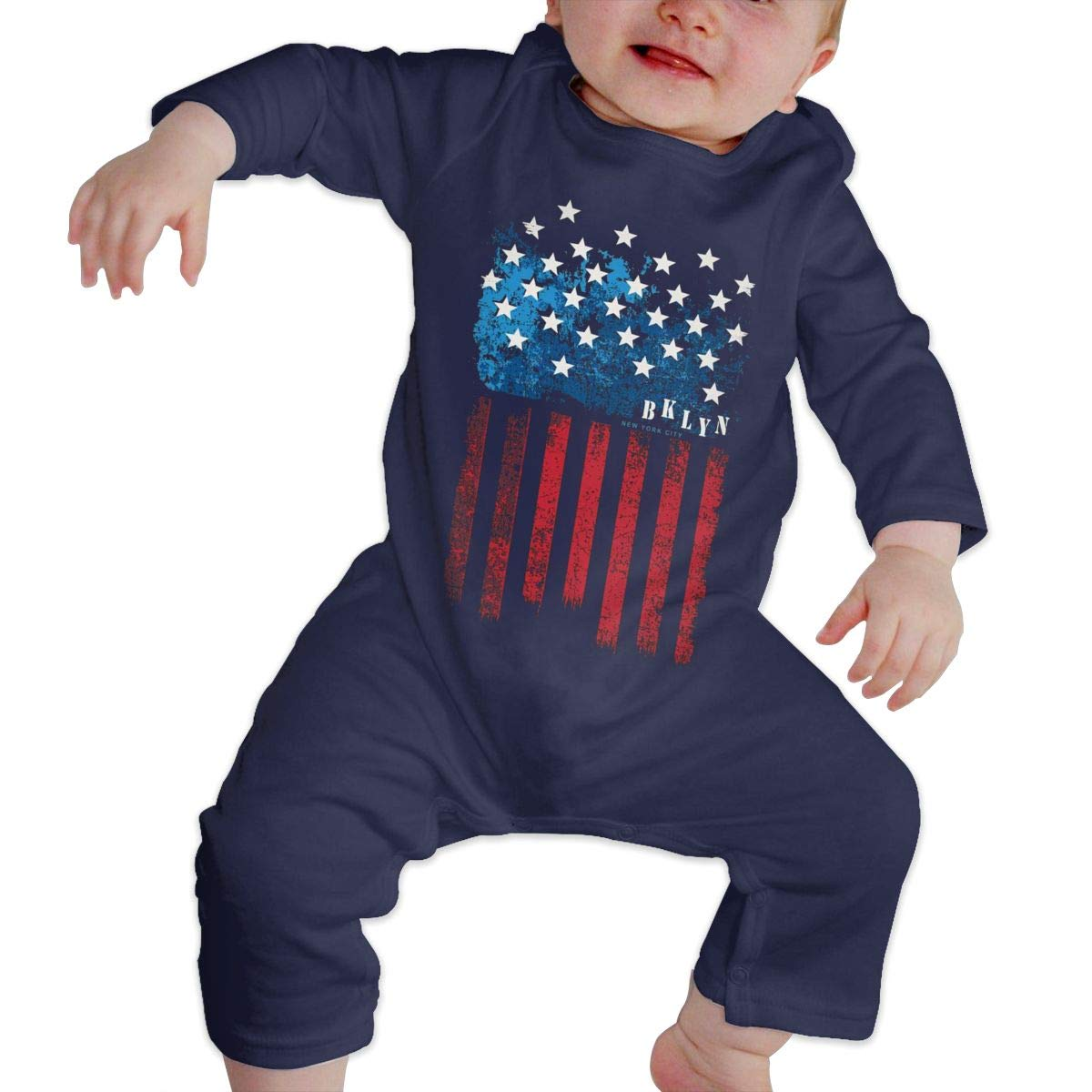 Unisex Baby O-Neck Long-Sleeve Solid Color Climbing Clothes New York Flag Crawling Suit
