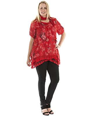 Love My Fashions® Womens Lagenlook Floral Button Scarf Italian Top Plus Size