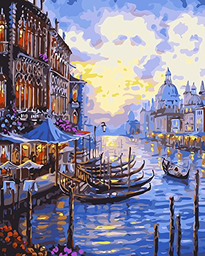 Paint By Numbers Kits Diy Oil Painting for Kids, Students, Adults Beginner 16x20 Inch with Brushes and Acrylic Pigment - Boat ()