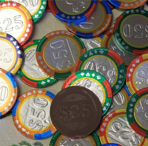 - Chocolate Casino Chips - Las Vegas Poker Coins in Colorful Foil - 1 Pound