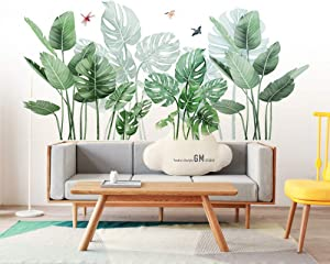 Green Plants Fresh Leaves Wall Decals, Palm Tree Leaves Wall Stickers, Monstera Leaf Tropical Plants Peel and Stick Wallpaper,DIY Wall Art Decor Home Decorations for Living Room Bedroom Nursery Office