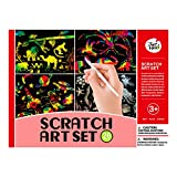 Jar Melo Combo Scratch Art Set: 26 Boards with 4 patterns (10.24'' x 7.3''), 2 Rigid Paper Frames(11'' x 8''), 4 Stencil Sheets, 1 Stylus Tool, ; Rainbow Scratch Paper Pad Scratchboard Art Set for Kids