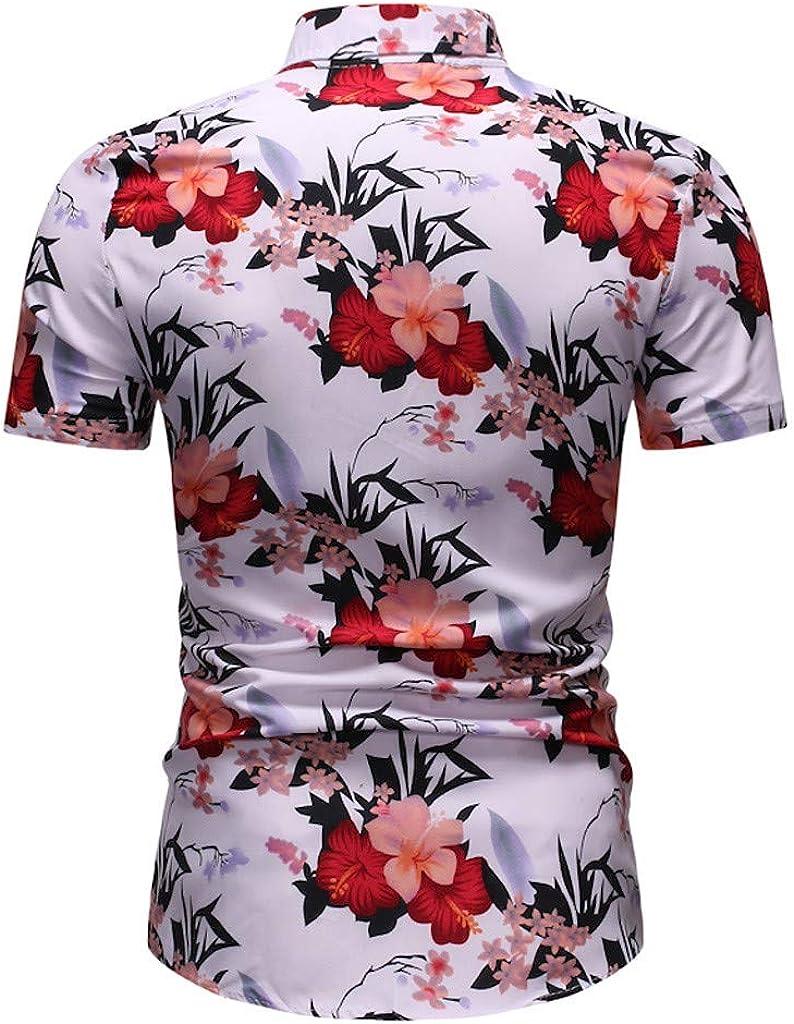 LEKODE Men Shirt Summer Fashion Business Leisure Handsome Tee Print Top Blouse