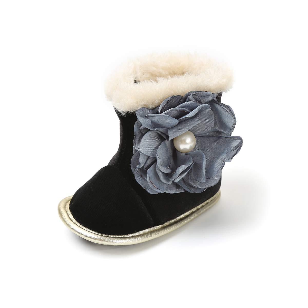 BENHERO Baby Boys Girls Premium Soft Sole Anti-Slip Warm Winter Infant Prewalker Toddler Snow Boots(11cm(0-6months),B-Black)