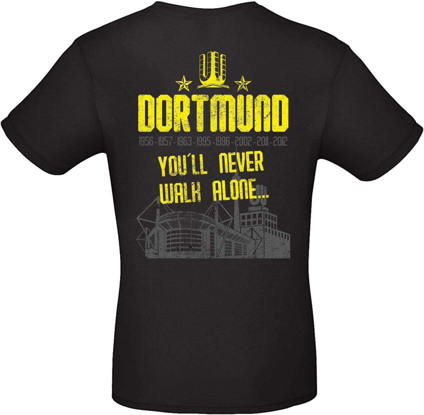 Alsino Herren T-Shirt Dortmund 3 Youll Never Walk Alone mit Jahreszahlen und Stadion aus Baumwolle