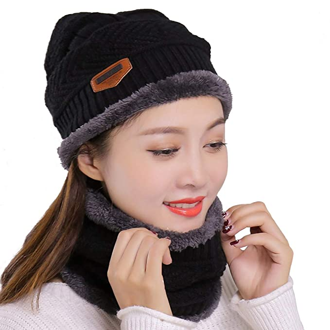 ceddfa35fb4 Muryobao Winter Hats and Scarf Set Knitted Slouchy Beanie Hat Warm Knit  Skull Cap Infinity Scarves