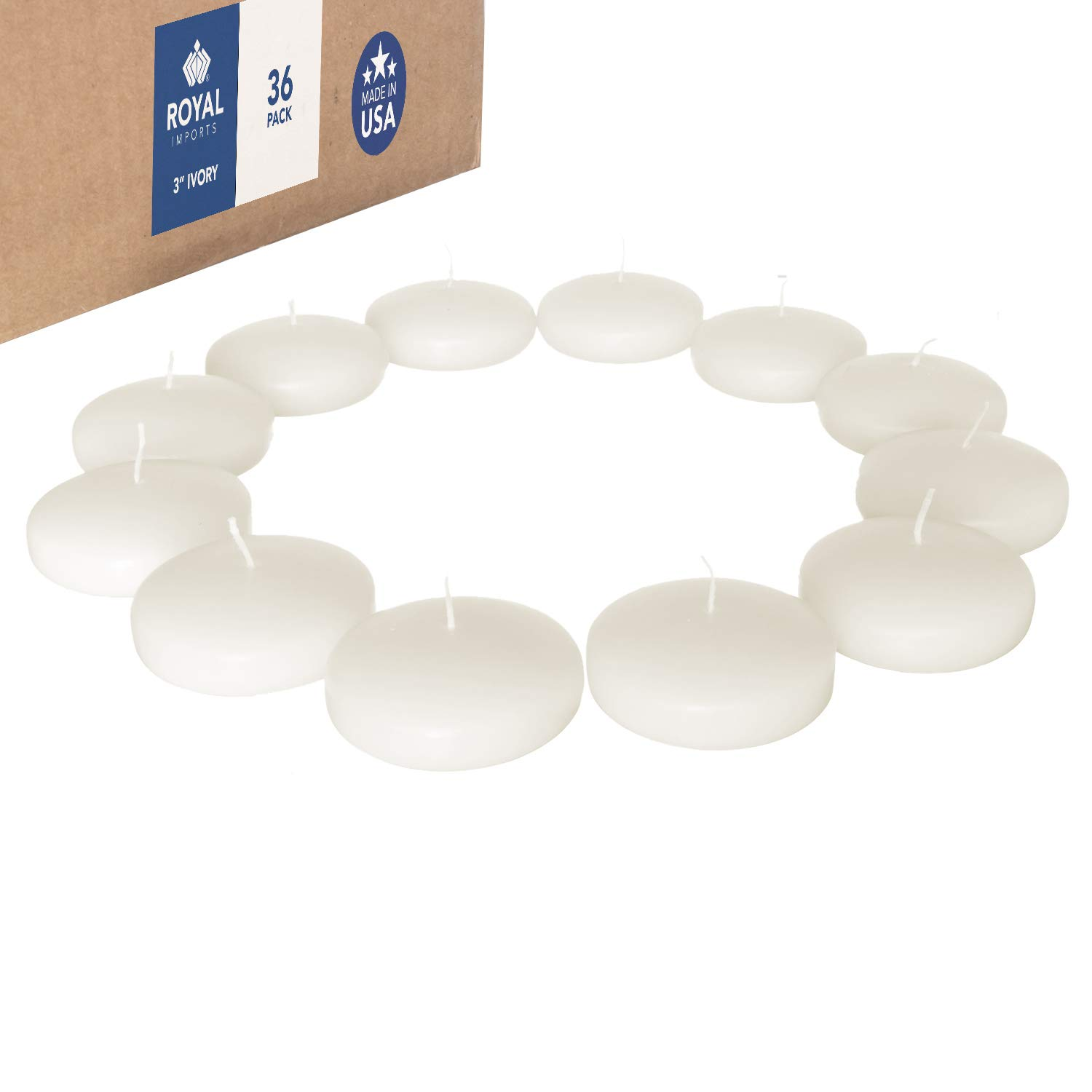 Royal Imports Floating disc Candles for Wedding, Birthday, Holiday & Home Decoration, 3 Inch, Ivory Wax, Set of 36