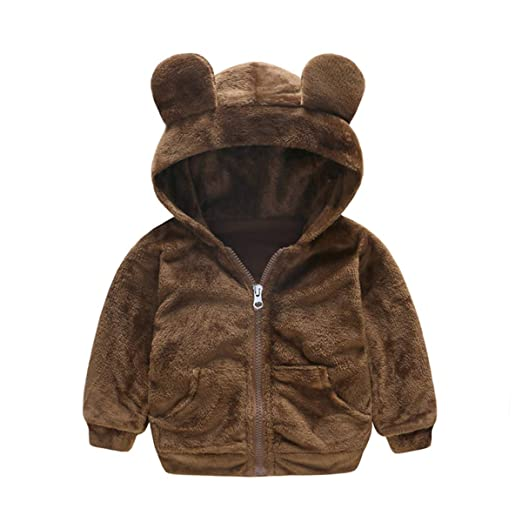 a832d1f82 Amazon.com  Camidy Toddler Baby Boy Girl Bear Shape Faux Fur Hoodie ...