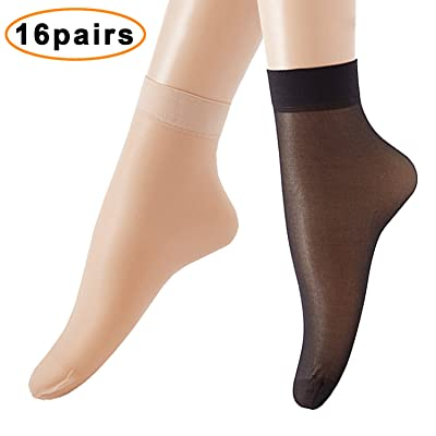 16 Pairs Women's Ankle High Sheer Wire Socks