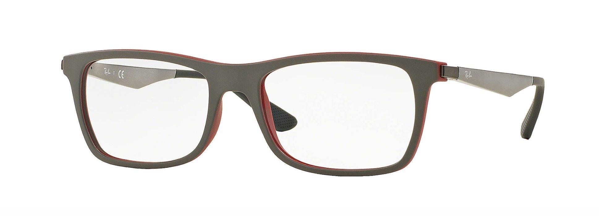 Ray Ban Eyeglasses Rx 7062f 5576 Top Grey On Matte Bordeaux, Size 55-18-145