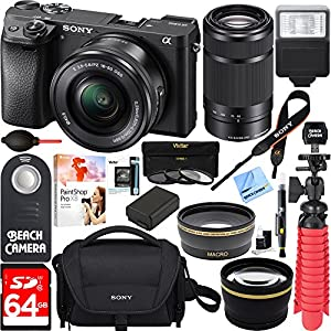 Sony ILCE-6300 a6300 4K Mirrorless Camera 16-50mm & 55-210mm Zoom Lens 64GB Kit (Black) + 64GB Accessory Bundle + DSLR Photo Bag + Extra Battery+Wide Angle Lens+2x Telephoto Lens+Flash+Remote+Tripod