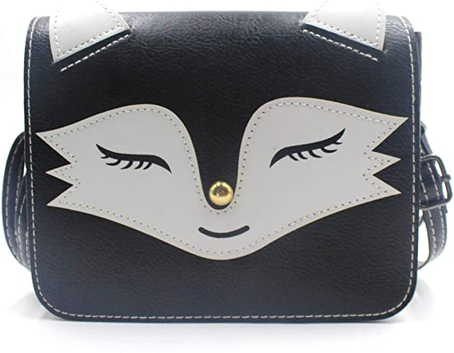 Girls Kids Cute Fox Handbag Purse Crossbody Cross Body Bag Gray