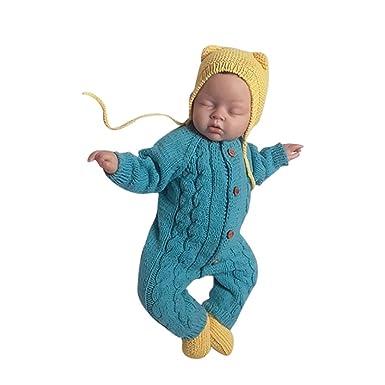 YanHoo Ropa Recién Nacidos Mameluco de Punto de Manga Larga de bebé Bebé recién Nacido para
