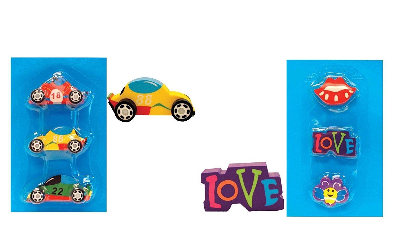"Butterflies /& Lips Novelty Big Eraser International Greetings INT-IG75996 Erasers for Kids Fun Erasers Featuring 3 Cars /""Love/"""