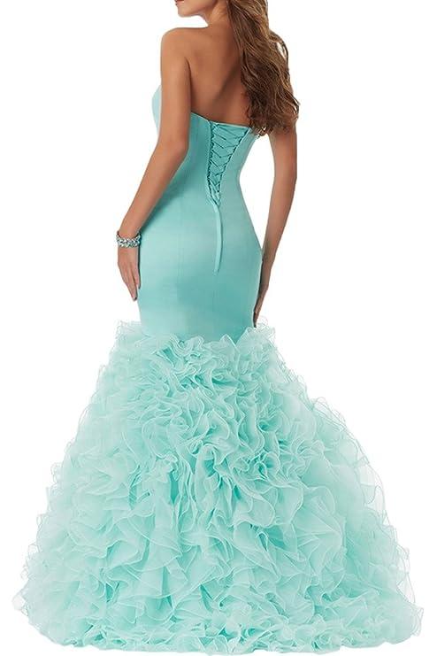 Gorgeous Bride Fashion Traegerlos Meerjungfrau Lang Satin Organza  Abendkleider Brautjungfernkleider Cocktailkleider: Amazon.de: Bekleidung