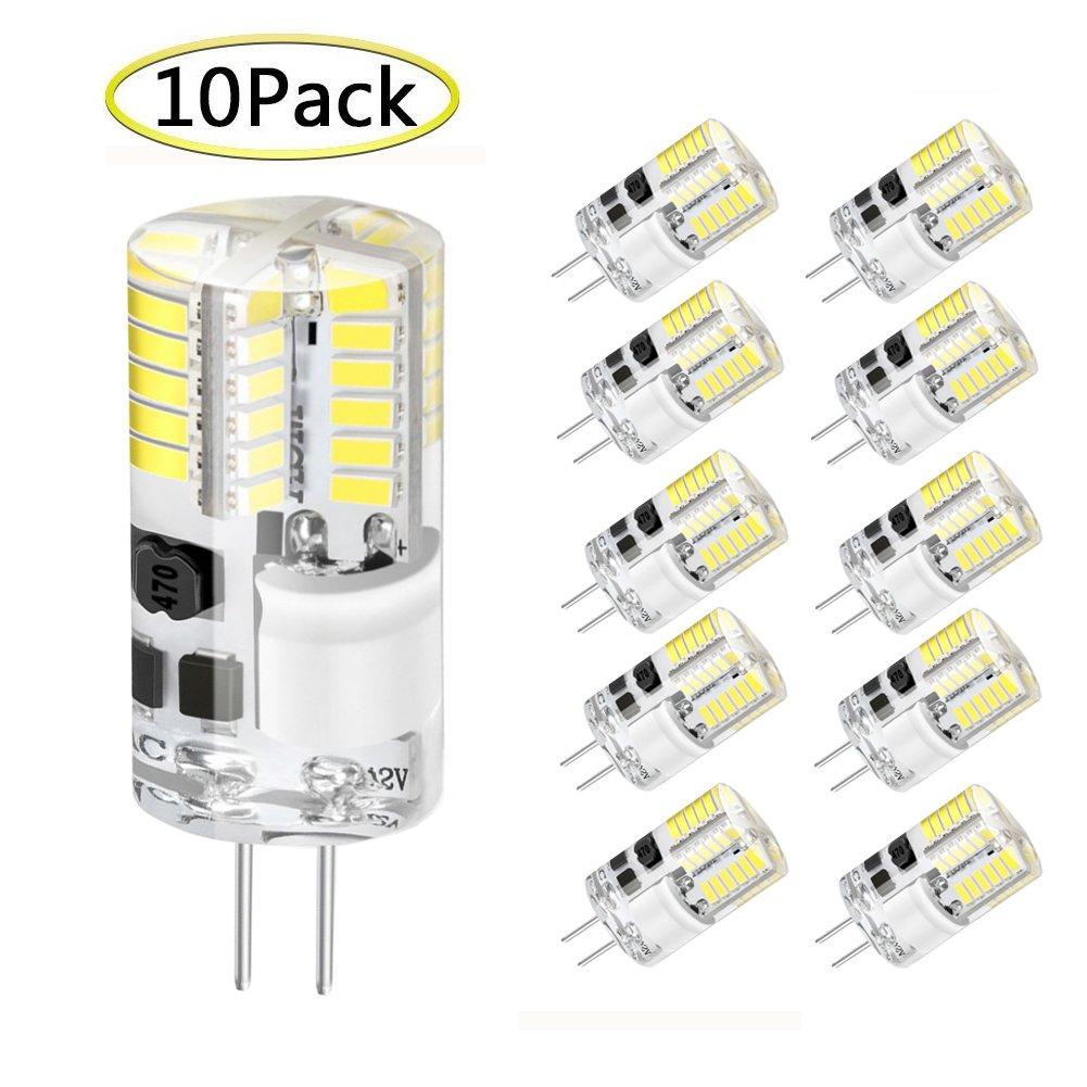 G4 LED Lampen, WXY 3W 48 x 3014 SMD ersetzen 30W Halogenlampe Äquivalent, AC/DC 12V, 360 ° Abstrahlwinkel, kaltweiß 6500K, nicht dimmbar Silikon LED Glühbirne, Packung mit 10 … WYFFO