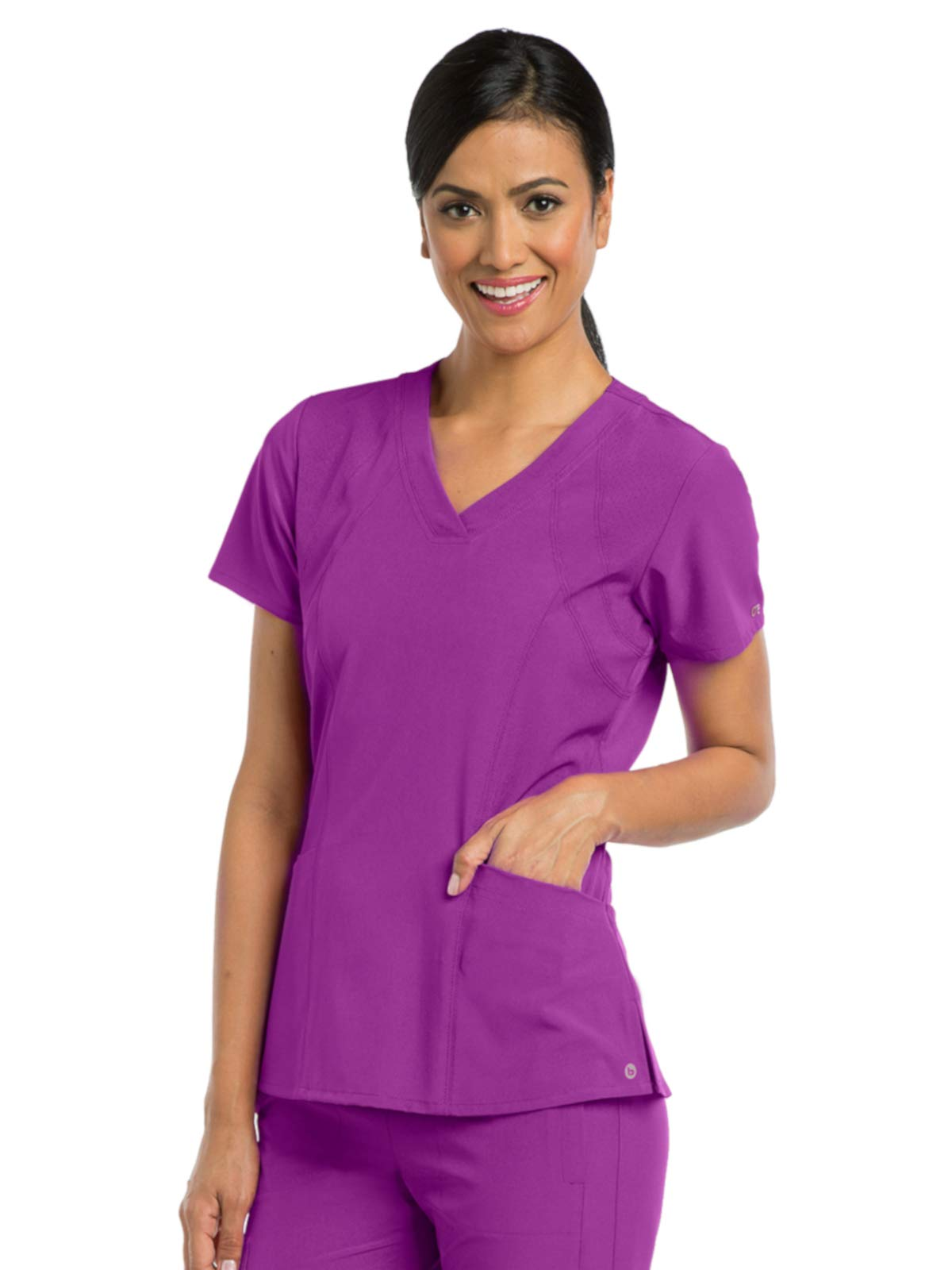 Barco One 5105 Women's V-Neck Top Bright Violet M