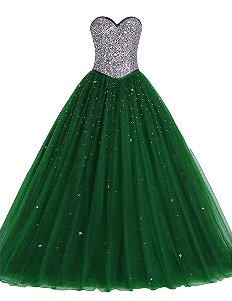 Long Tulle Crystals Ball Gown Sequined Top Corset Beaded Prom Quinceanera Dresses Green US 20W