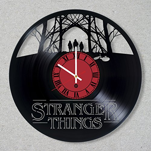TV Series Vinyl Record Wall Clock Stranger Things Eleven Demogorgon Horror Halloween decor unique gift ideas for friends him her boys girls World Art Design ... -