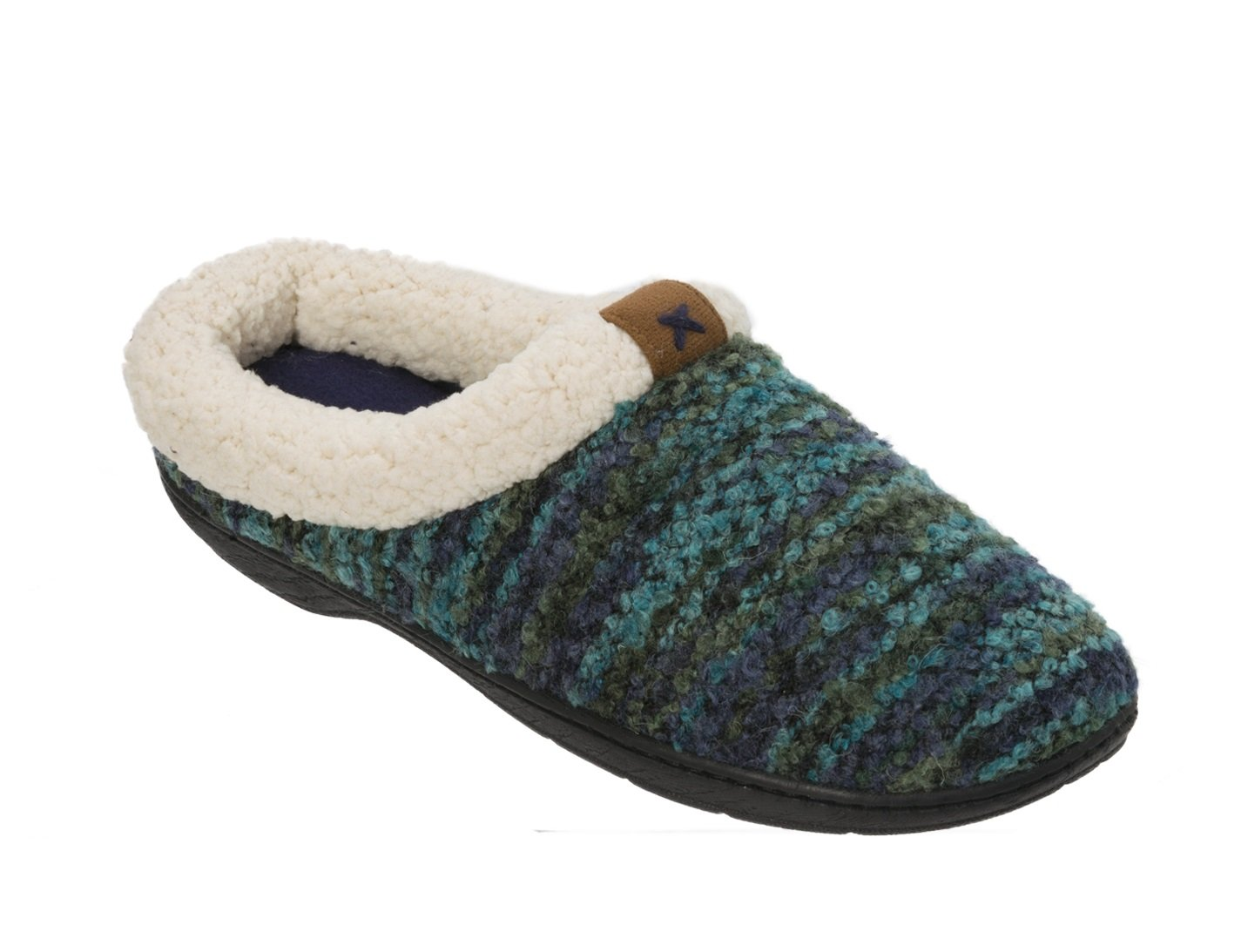 Dearfoams Womens Clog with Tab and Stitch Detail Memory Foam Slipper (X-Large (11-12), Peacoat)