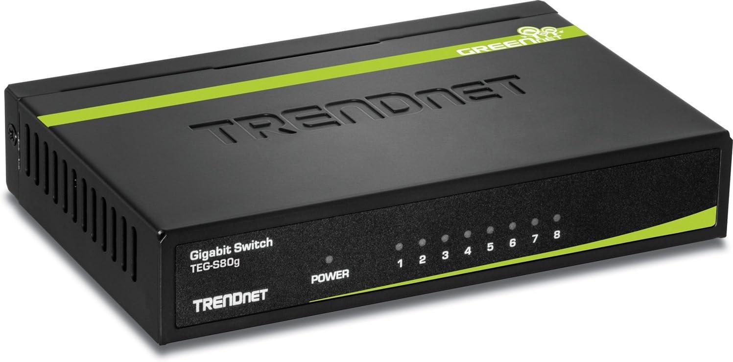 TRENDnet 8-Port Unmanaged Gigabit GREENnet Desktop Metal Switch, Ethernet Splitter, Fanless,16Gbps Switching Capacity, Plug & Play, Lifetime Protection, TEG-S80G,Black