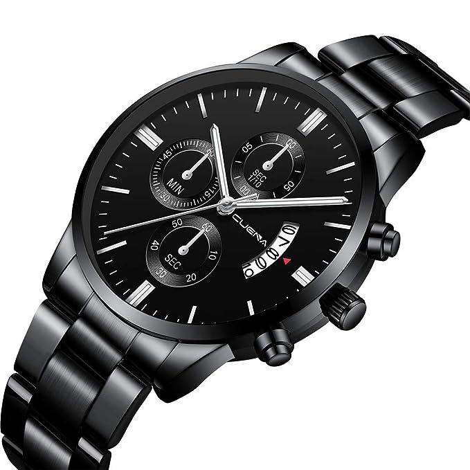 ... de Lujo de Acero Inoxidable Correa de Reloj de Cuarzo Analógico Dial Redondo Indicador Fecha Fecha Reloj de Pulsera de Negocios(D): Amazon.es: Relojes