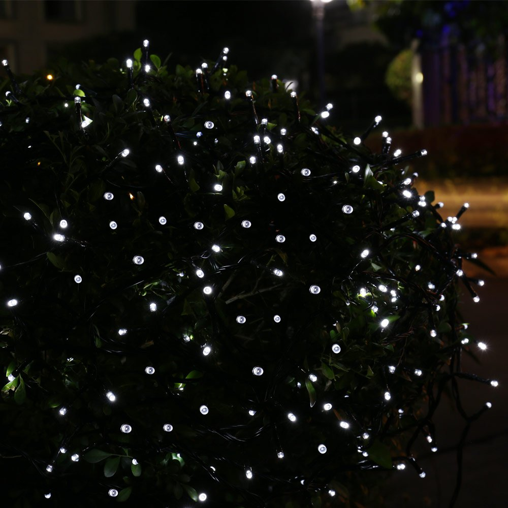 qedertek solar outdoor christmas lights 39ft 100 led fairy string lights decorative lighting for home lawn garden patio party and holiday decorations - White Outdoor Christmas Tree