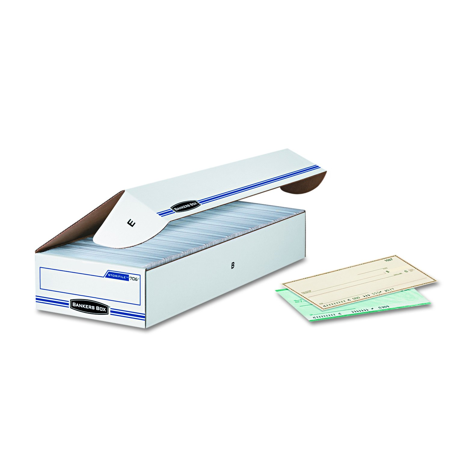 Bankers Box 00706 STOR/FILE Storage Box, Check, Flip-Top Lid, White/Blue (Case of 12)