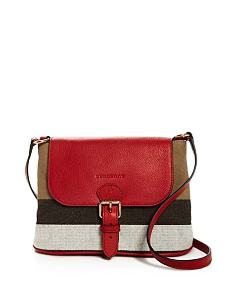 4aaa984a1a90 Burberry Brit Small Gowan Canvas House Check Leather Crossbody Bag Cadmium  Red  Amazon.ca  Shoes   Handbags