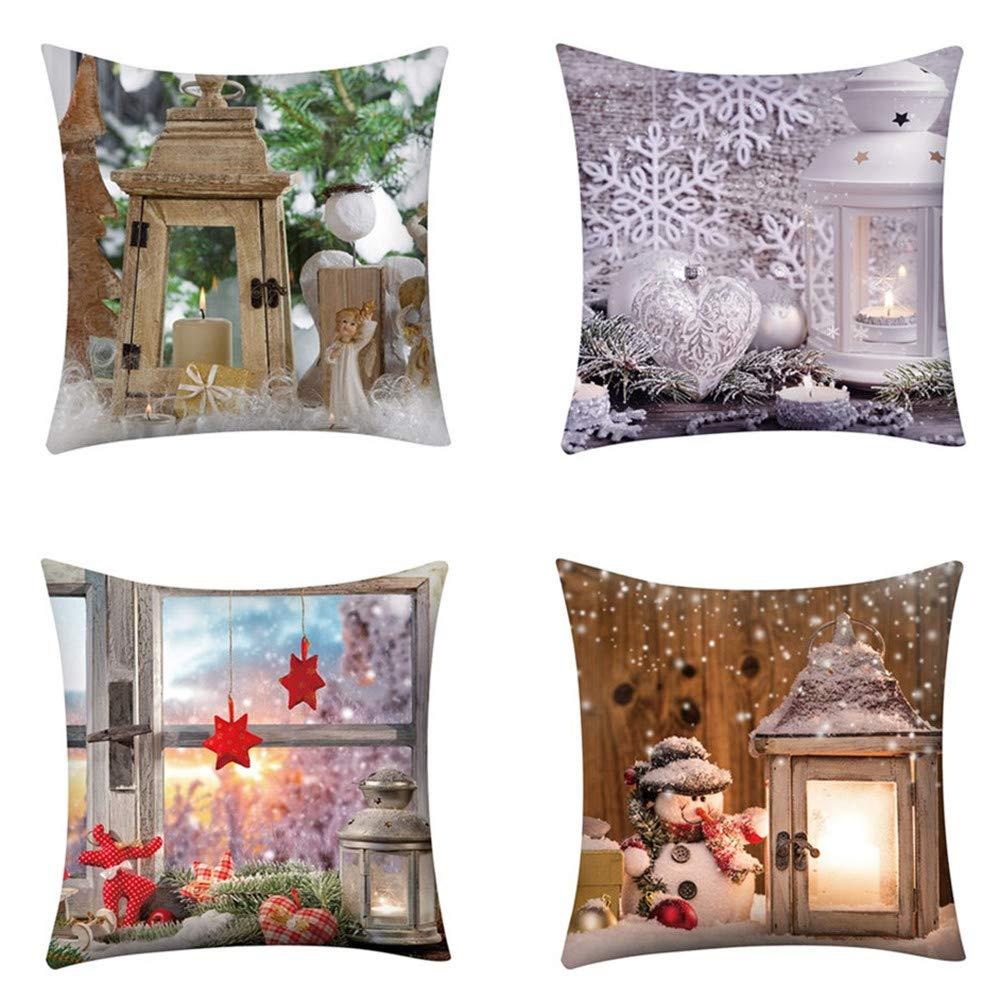 Caso di Cuscino, feiXIANG 4 Pack Federa Cuscino Federe 45x45 cm in Poliestere Cuscini per divani Cuscino di Natale Decorazioni per la Casa Federe Coppia