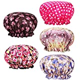 Shower Cap, 5 Pack Waterproof Lined Shower Cap/Bath Hair Cap Lady Salon Hat