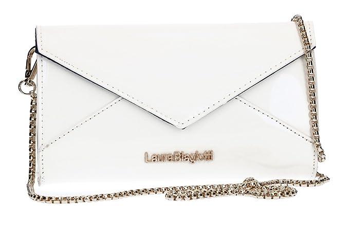 ee05bf7ea6 Laura Biagiotti Borsetta donna pochette a busta bianca lucida VN1929:  Amazon.it: Abbigliamento