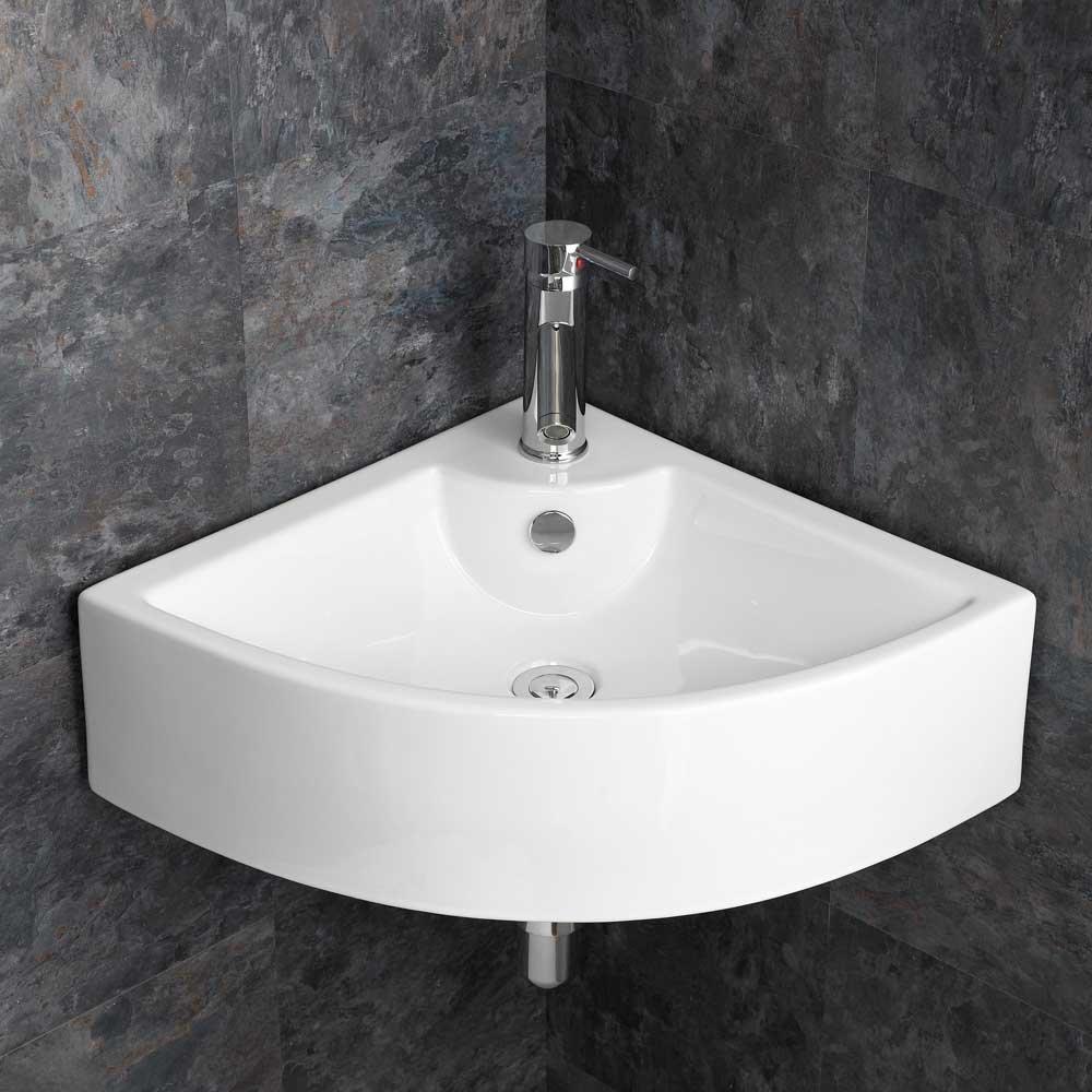 Clickbasin Wall Mounted Prato Large White Ceramic Corner Bathroom Sink
