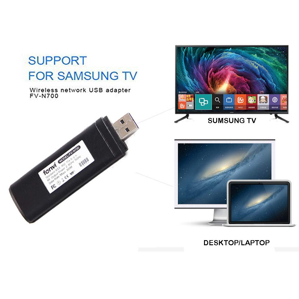 Velidy USB TV sans Fil Adaptateur Wi-FI, 802.11ac 2,4 GHz et 5 GHz Dual-Band ré seau sans Fil USB WiFi Adaptateur pour Samsung Smart TV WIS12ABGNX Version 300 m