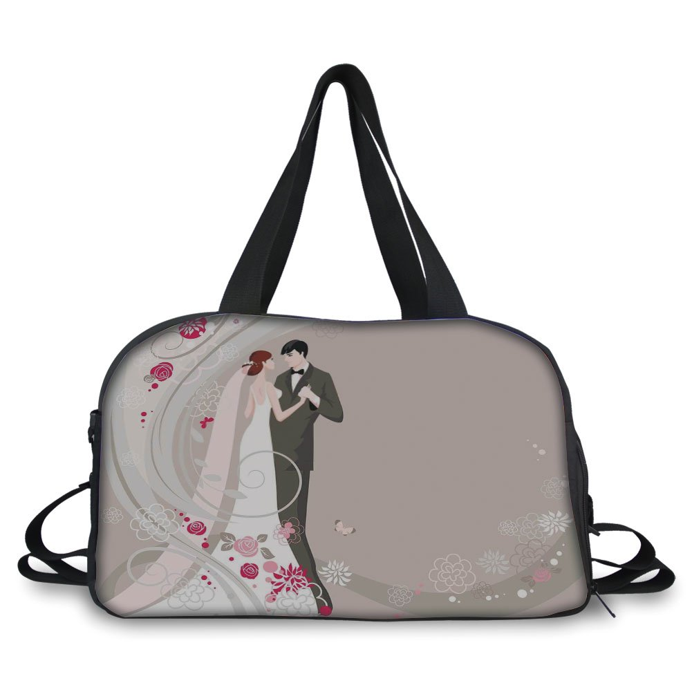 iPrint Travelling bag,Wedding Decorations,Abstract Wedding Ceremony Floral Ornament Designs Bride and Groom Celebration,Grey Black Pink ,Personalized