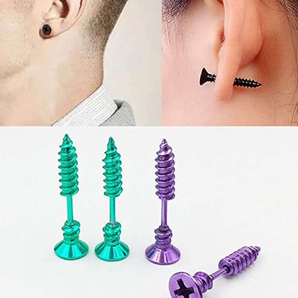 1 par unisex aretes de tornillo de acero inoxidable piercing oreja espárragos para Halloween multi color