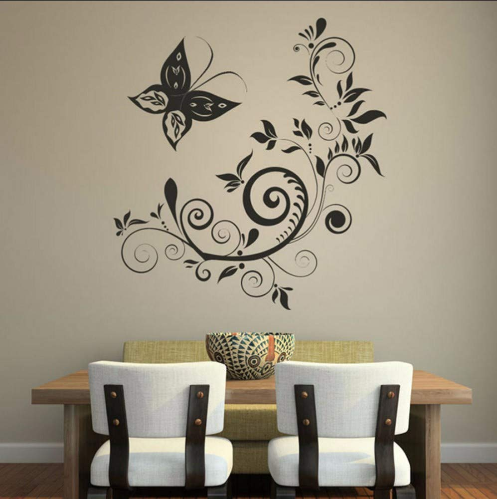 Kids' Furniture, Décor & Storage Modern Style Home Decoration Wall Stickers For Living Room Black Waterproof Butterfly And Swirl Flower Posters Wall Decor 59X62CM Wall Décor