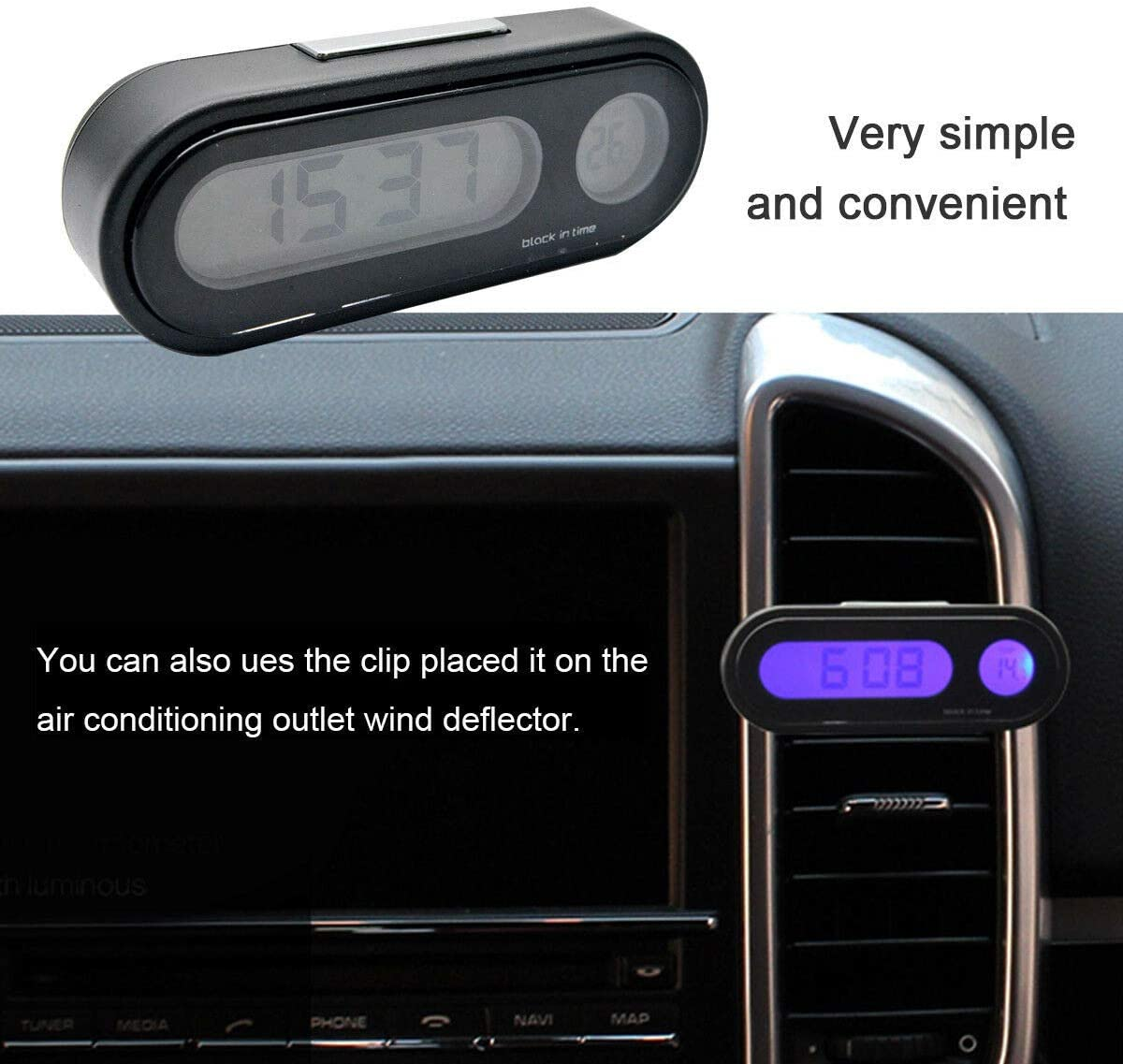MACHSWON Car Clip-on Digital LCD Thermometer Backlight Clock for Bicycle Motorcycle Auto Moto Truck
