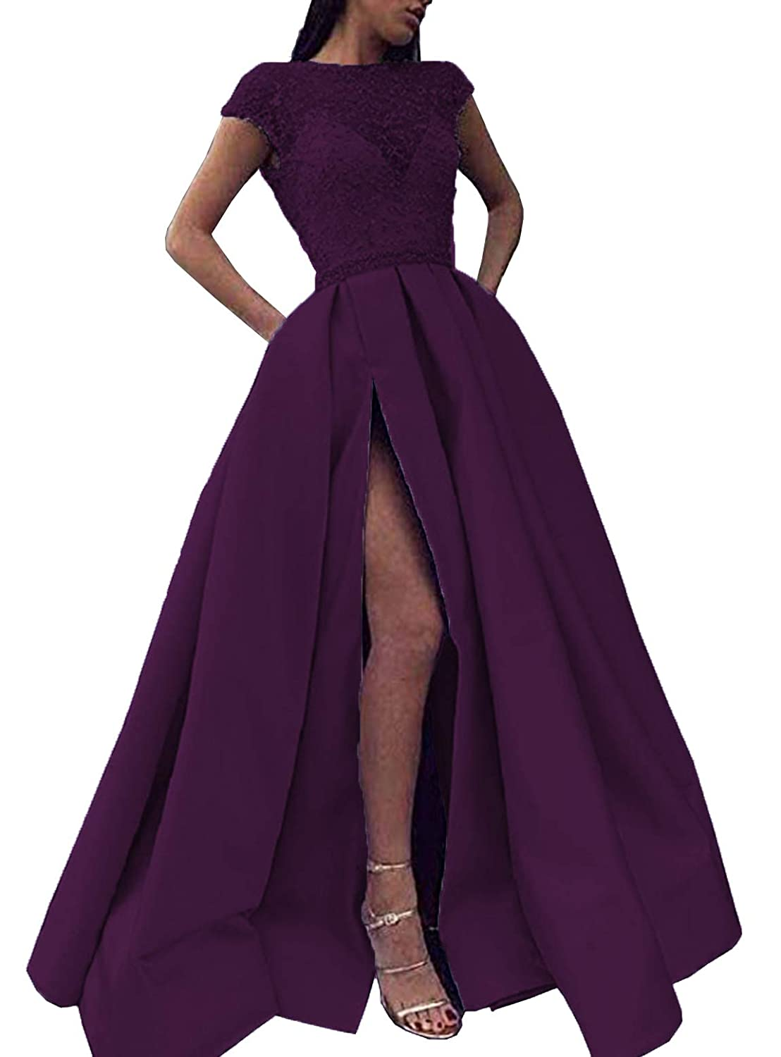 Grape Scarisee Womens Short Sleeves Beaded Prom Party Evening Dresses Split FormalA228