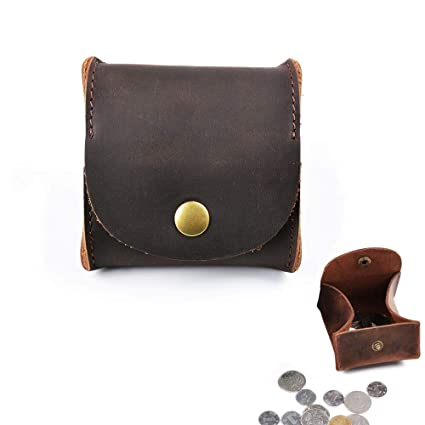 2642dc18b6fd Amazon.com  Juland Rustic Leather Moon Pocket Coin Case Genuine Leather  Squeeze Coin Purse Pouch Change Holder Tray Purse Wallet for Men   Women -  Dark ...