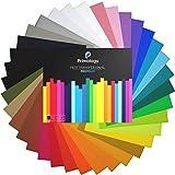 "Primology Heat Transfer Vinyl: 35 Pack 12"" x 10"" Premium Iron On Vinyl, HTV Vinyl for T-Shirts - 31 Assorted Colors - Black,"