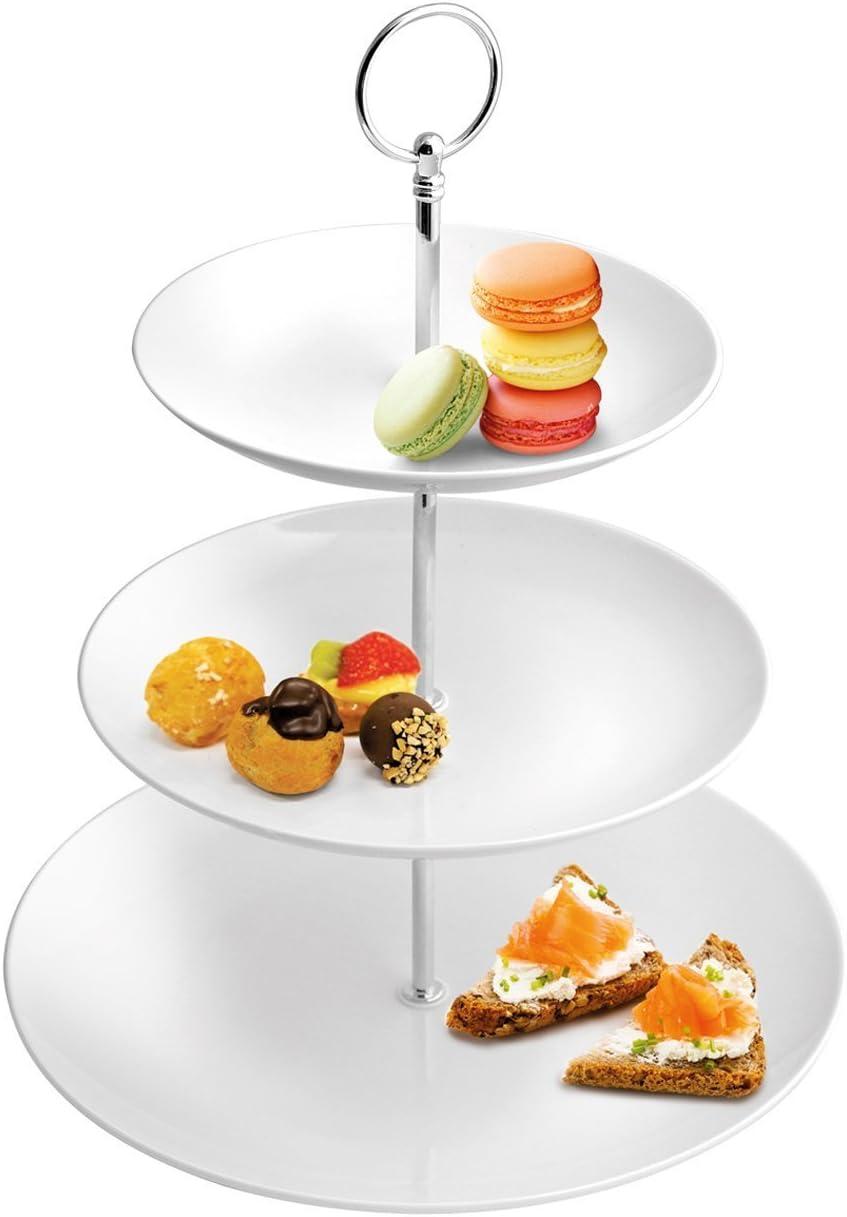 Porzellan Etagere mit 3 Etagen Servierplatte Gebäckschale Obstschale Schale Weiß