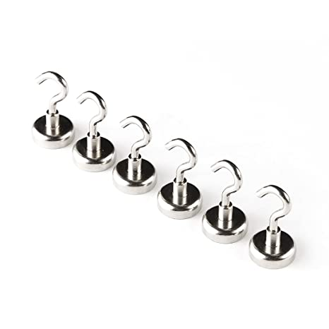 Hakenmagnet 5 x Magnethaken wei/ß lackiert bis 24 kg Rundmagnet Durchmesser 63 mm