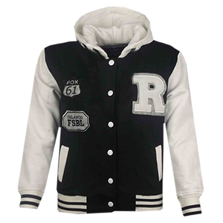 Girls Ladies  Baseball Bomber R Fox Hoodie  Pockets Button Jacket