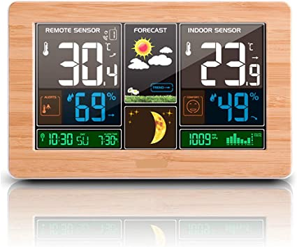 Weather Station Barometer Thermometer Hygrometer Wireless Sensor Alarm Clock EW